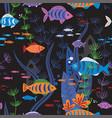 aquarium fishes life seamless pattern vector image vector image