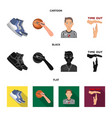basketball and attributes cartoonblackflat icons vector image vector image