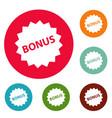 bonus sign icons circle set vector image vector image