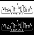 brussels skyline linear style vector image