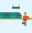 caucasian man walking on railway station platform vector image vector image