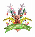 christmas decoration - deer and birds vector image vector image