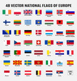 collection 48 national flags europe vector image