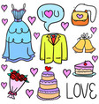 collection of wedding element colorful doodles vector image vector image
