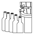 contour beer bottles filling up icon vector image