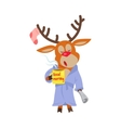 Deer in Sleepwear Isolated Reindeer in Morning vector image vector image