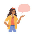 dialogue speech bubble and talking woman isolated vector image vector image
