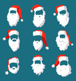 different santa hats moustache and beards vector image vector image
