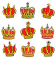 doodle of red crown style collection vector image vector image