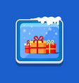 festive button with presents vector image vector image