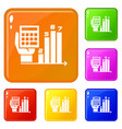 finance chart icons set color vector image vector image