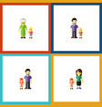 flat icon people set of grandma mother father vector image vector image