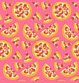 flat tasty italian pizza pattern on pink vector image