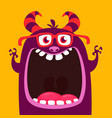 funny purple horned cartoon monster vector image vector image