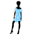 girl in blue dress vector image