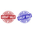 grunge great sale scratched round stamps vector image vector image