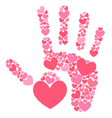 Handprint of hearts vector image vector image