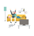 happy man and woman sitting on comfortable couch vector image vector image