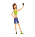 happy smiling young woman taking selfie photo vector image
