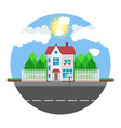 house on round background along the road part of vector image