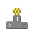 icon concept dollar coin on first place of vector image