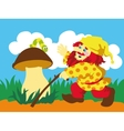 Image of gnome and caterpillar on mushroom vector image vector image