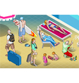 Isometric Tourists Peoples Set at Resort vector image vector image