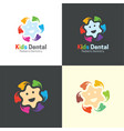 kids dental logo and icon vector image