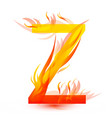 letter z in fire flame icon vector image