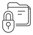 lock folder icon outline style vector image