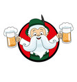 man with beer mugs in the hands vector image