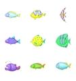 Marine life icons set cartoon style vector image