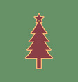 new year tree sign cordovan icon and vector image vector image