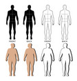outlined standing man woman vector image vector image