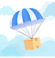 parachute box delivery concept send package vector image vector image