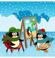 penguin artist fantasy vector image