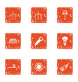 power supply unit icons set grunge style vector image