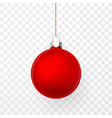 red christmas ball xmas glass ball on transparent vector image vector image