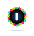 Retro bright colors Logotype Letter I vector image vector image