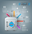 safe key lock icon business infographic vector image vector image
