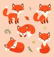 set cute cartoon foxes in modern simple flat vector image vector image
