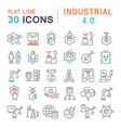 set line icons industrial 40 vector image