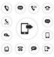 set of 12 editable gadget icons includes symbols vector image vector image