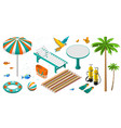 set of isometric summer beach holiday objects vector image