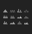 set sound wave logo music wave white icons on vector image