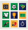 Soccer icon set Brazil summer world game Flat vector image