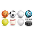 sport ball set 3d realistic popular vector image vector image