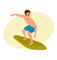 surfer with surfboard standing riding on ocean vector image vector image