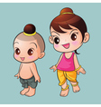 Traditional Thai cute boy and girl vector image