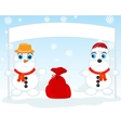 Two snow persons vector image vector image